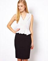 New KAREN MILLEN Broderie Pencil Cotton Shirt Dress Black White Work Smart Day