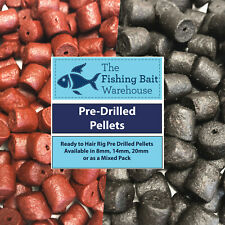 Pre Drilled Halibut or Shrimp & Krill Pellets- 8,14, 20mm & Mixed, carp fishing