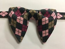 NEW Handmade Mens Bow-tie-Vintage-style-70s-Pink-Grey-Bowtie-Pre-tied-Adjustable