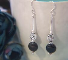 Long BLACK AGATE Gemstone & 925 STERLING Silver Earrings ~ 40mm