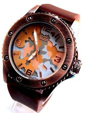 Men's Fashion Watch Mark Naimer MN7092 Brown Silicone Band Camouflage Dial