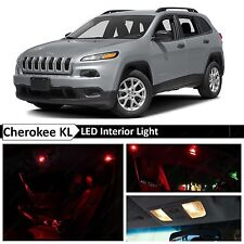 2014-2015 Jeep Cherokee KL Red Interior + License Plate LED Lights Package Kit