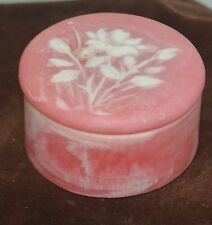 Pink Design Gifts Stone Carved Round Flower Trinket Box