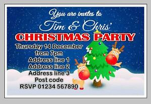 PERSONALISED XMAS / CHRISTMAS PARTY INVITE / INVITES / INVITATION CARDS