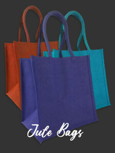 50 x Jute Bags - Large Square Shoppers + Free Delivery (Pick Colour)