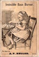1880's Victorian Trade Card AD, Invincible Base Burner Cast Iron Stove