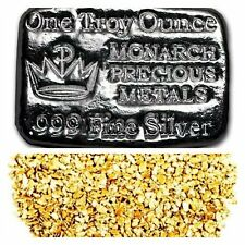 1 TROY OZ .999 SILVER MONARCH HAND POURED CROWN BAR + 10 PIECE ALSAKAN GOLD NUGS