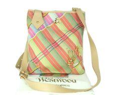 Auth Vivienne Westwood Brown Leather & Canvas Multi color Shoulder Bag Italy