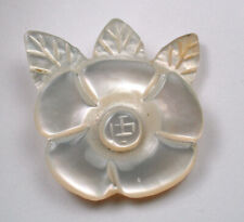 """Antique Iridescent Carved One Piece MOP Shell Button Flower w Leaves 15/16"""""""