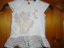 Cute baby girls beige top, zebra and embroidered butterflies, F&F, 3-6 months