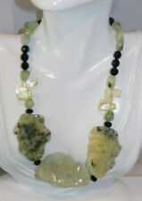 """Chunky Green Moss Agate Black Crystal Quartz Bead 18"""" Necklace  925 Toggle 2h 59"""