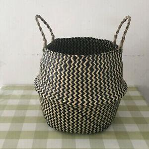 Seagrass Belly Basket Flower Plant Storage Woven Wicker Basket Pot Home Decors/J