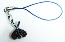 Antique Silver TENNIS  Phone Charm Gift FREE Bag iPhone SAMSUNG NOKIA HAUWEI