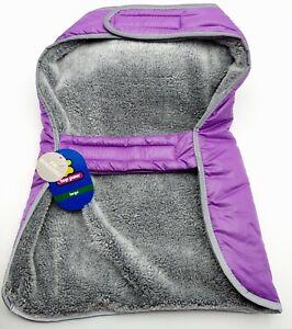 NEW Top Paw Sz L Fleece Lined Dog Puffer Coat  Reflective Purple Hook & Loop NWT