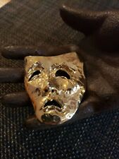 Vintage Brooch Tragedy Mask Gold Tone theater