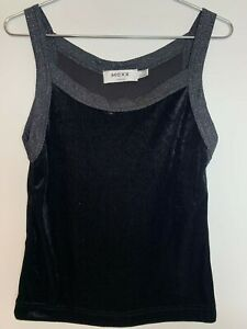 Mexx Vintage 00s 90s Y2K Black Velvet Female Sleeveless Tank Vest Top S
