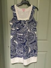 Lilly Pulitzer dress Size 12 Blue White Fish RARE Pattern Holy Grail!!
