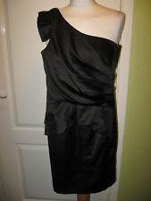 LIPSY UK SIZE 6 LADIES BLACK SATIN ONE SHOULDER EVENING DRESS