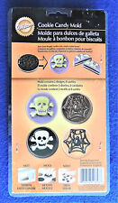 Halloween Cookie Candy Mold * Skull & Crossbones & Spider 8 Cavities Wilton New