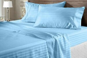 Branded Duvet Collection Egyptian Cotton Sky Blue Striped Choose Item & AU Size