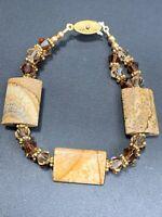 Vintage  Bohemian Picture Jasper Honey Crystal  Beaded  Bracelet Strand