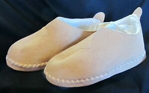 NEW WOMENS LADIES SUEDE LEATHER SAMOA CREAM BOOTIE SLIPPERS SIZE 5