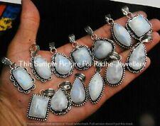 Rainbow Moonstone 10 Pcs Wholesale Lots 925 Sterling Silver Plated Pendant