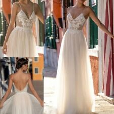 Hot V Neck A Line Applique Backless Split Beach Wedding Dress Bridal Gown Custom