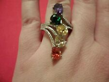 Simulated Blue, Orange, Pink, Green & Yellow Diamond Ring in Platinum Overlay