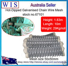 "Hot Dip Galvanized Chain Wire Fencing,Chain Link Fence,1.83m x 10m,2"" Mesh-67101"