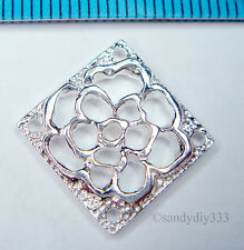 1x BRIGHT STERLING SILVER FLOWER SQUARE LINK CONNECTOR SPACER BEAD 14.6mm #1331