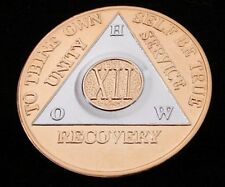 Alcoholics Anonymous Gold Plated Aa 12 Year How Medallion Coin Token Chip Sober