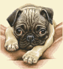 PUG dog - complete counted cross stitch kit - All materials included