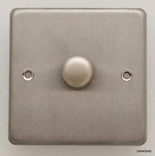 LED /TRAILING  EDGE DIMMER LIGHT SWITCH BRUSHED SATIN STAINLESS STEEL