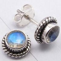 925 Silver FIERY MOONSTONE Facetted Gemstone Pretty Studs Post Earrings 0.8CM