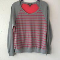 ALO Yoga Gray Coral Striped Waffle Knit Color Block Crew Neck Yoga Shirt