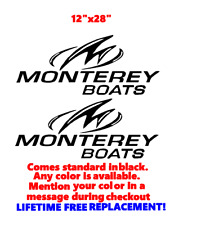 "PAIR OF 12"" X 28"" MONTEREY BOAT HULL DECALS MARINE GRADE. YOUR COLOR CHOICE.09"