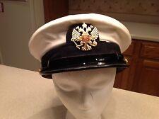 Military Hat Russia Soviet USSR White & Black Visor Intact Badge