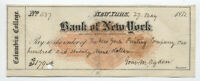 1871 Columbia College NY check with imprinted revenue RN-C1 [y5733]