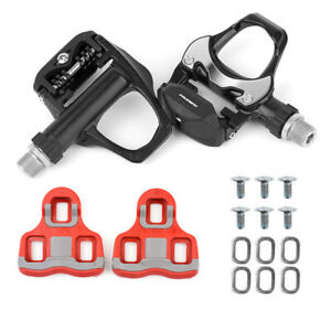 Promend Road Bike Cleats Clipless Pedals with Look Cleats CR-MO Steel Axle Black