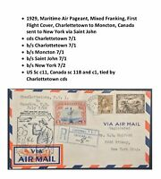 US Sc c11 on 1929 Canada First Flight Cover Charlottetown to New York