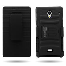 Belt Clip Holster Cover + Black Hybrid Case for Sharp AQUOS Crystal