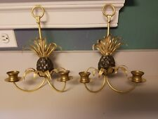 Pair of Antique Bronzed Pineapple Wall Sconces – STUNNING