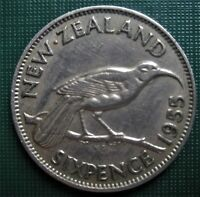 1 NEW ZEALAND 1955 SixPence Huia Bird Sitting on Branch 6d Coin LOW SHIPPING !