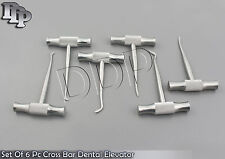SET OF 6 PC CROSS BAR DENTAL EXTRACTING EXTRACTION WINTER ROOT SURGERY ELEVATOR