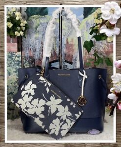 Michael Kors TRISTA LARGE Drawstring Tote Bag + Pouch In NAVY/WHITE Leather $348