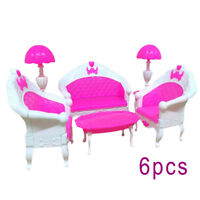 6pcs Pink Barbie Doll House Furniture Living Room Sofa Couch Chair Armchair