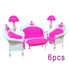 Pink 6pcs Barbie Doll House Furniture Living Room Sofa Couch Chair Armchair Toy