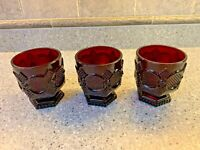 3 Vintage Ruby Red Avon Footed Tumblers Short  Goblets Cape Cod Pattern