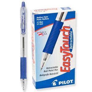 32221 Pilot EasyTouch Ballpoint RT Pen, Medium Point, Blue Ink, Pack of 12